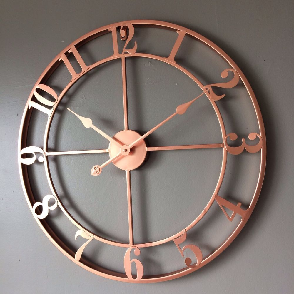 copper rose gold coloured skeleton wall clock open face. Black Bedroom Furniture Sets. Home Design Ideas
