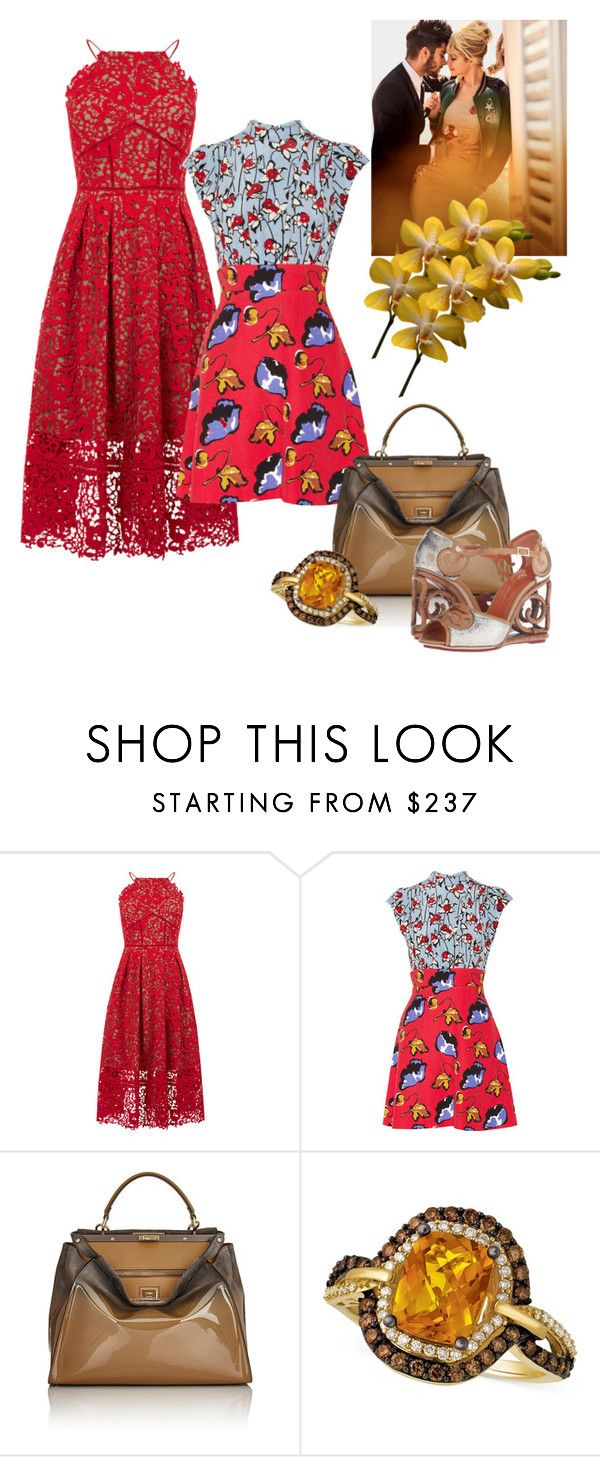 """""""Untitled #290"""" by sunnydayseverkh ❤ liked on Polyvore featuring Warehouse, Miu Miu, Fendi, LE VIAN and Charlotte Olympia"""