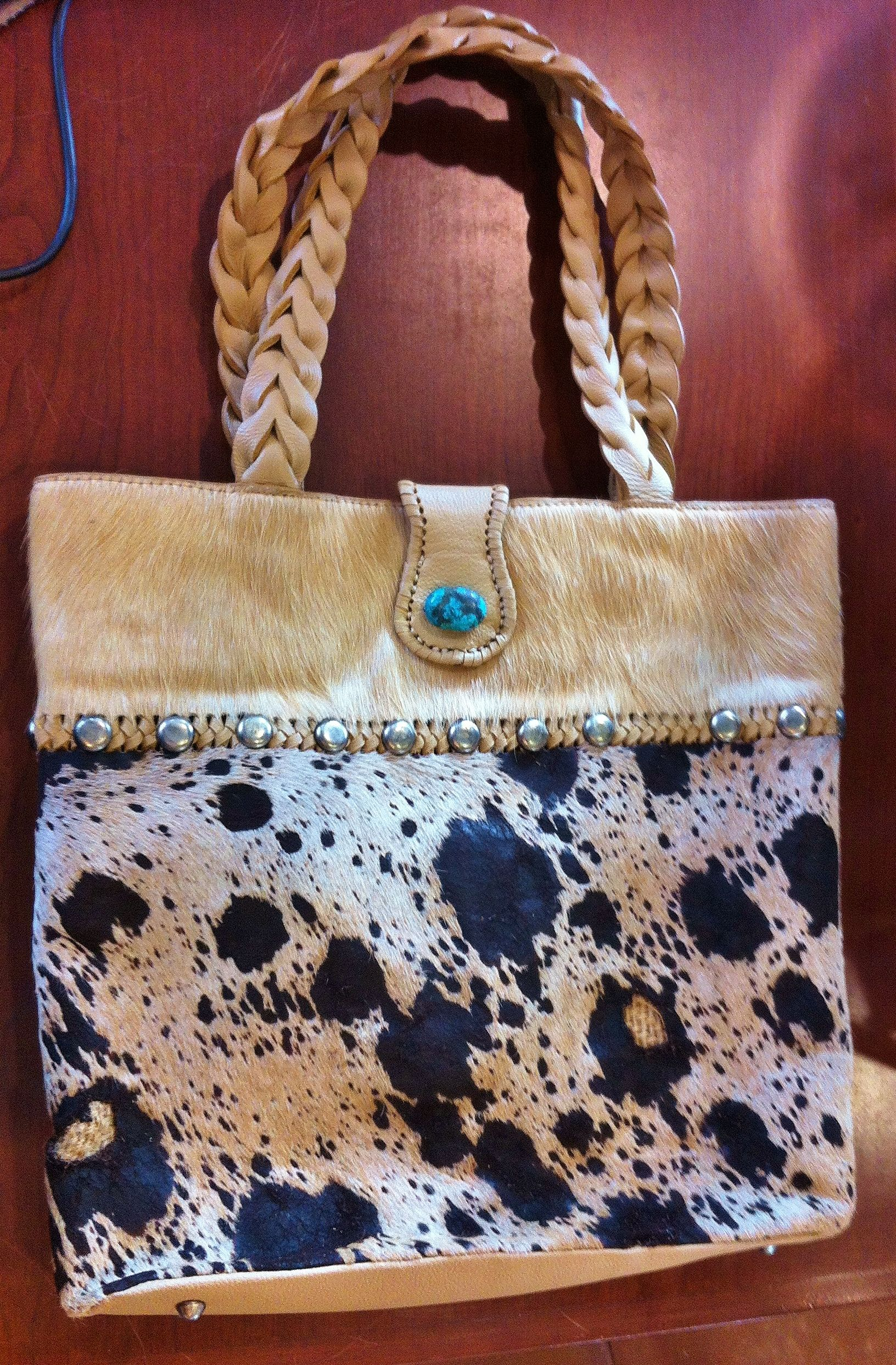 Paige Wallace acid wash hair on hide tote with Turquoise, braided ...