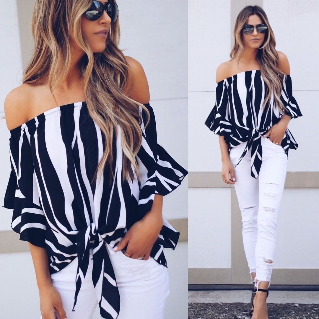 Off shoulder striped strap short sleeves ruffles blouses fashion