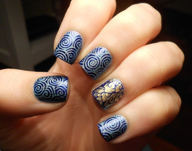 Blue holo swirls and golden clouds #stamping #MoYouLondon #Kiko #Essence