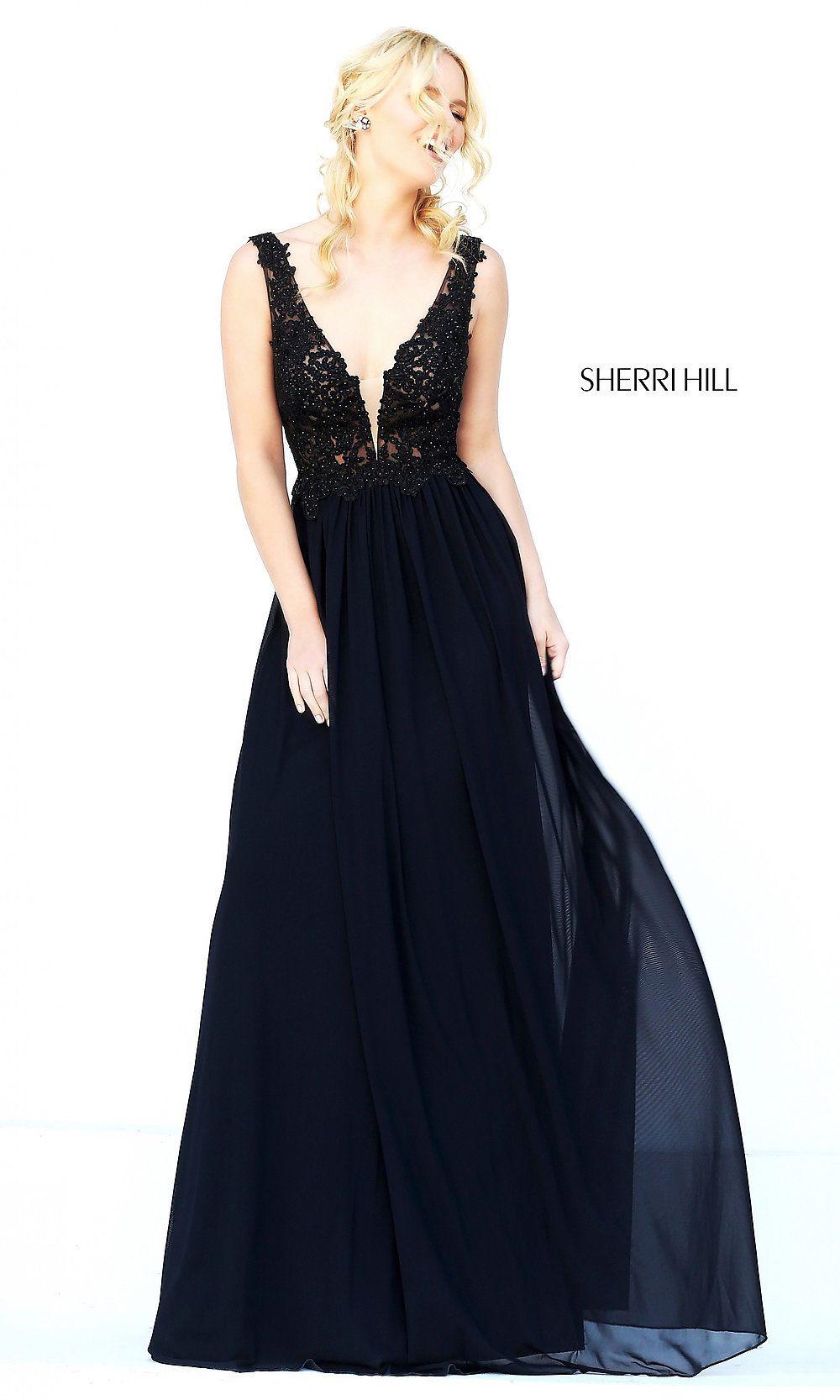 5f0027882030 Sherri Hill Long V-Neck Embroidered Bodice Dress in 2019   pram ...