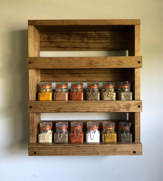 Woodworking Plans For Kitchen Spice Rack: Wall Mounted Spice Rack, Rustic Spice Storage, Kitchen