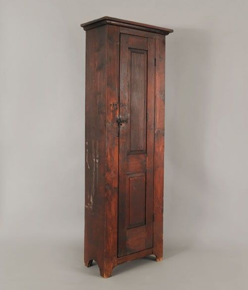 Stained pine chimney cupboard, 19th century, interior with seven shelves,  85 H. - Stained Pine Chimney Cupboard, 19th Century, Interior With Seven