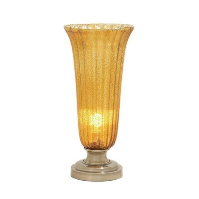 "Woodland Imports Attractive and Classy Glass Metal 20"" H Table Lamp with Bell Shade"