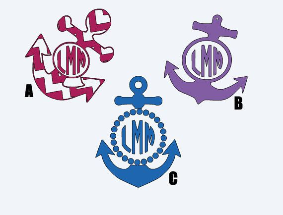 Anchor Monogram Car Decals Style Options By LMDesigned On Etsy - Monogram car decal anchor