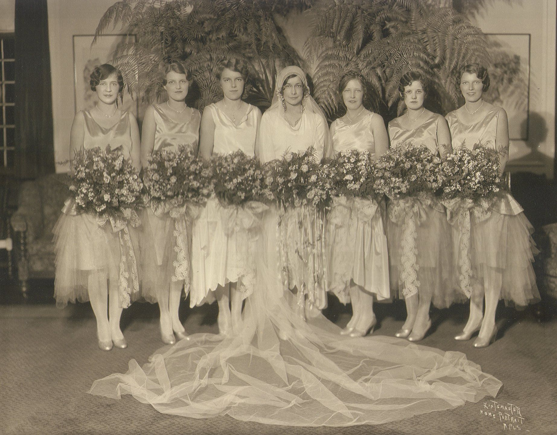 Antique photograph bride and her attendants itus always