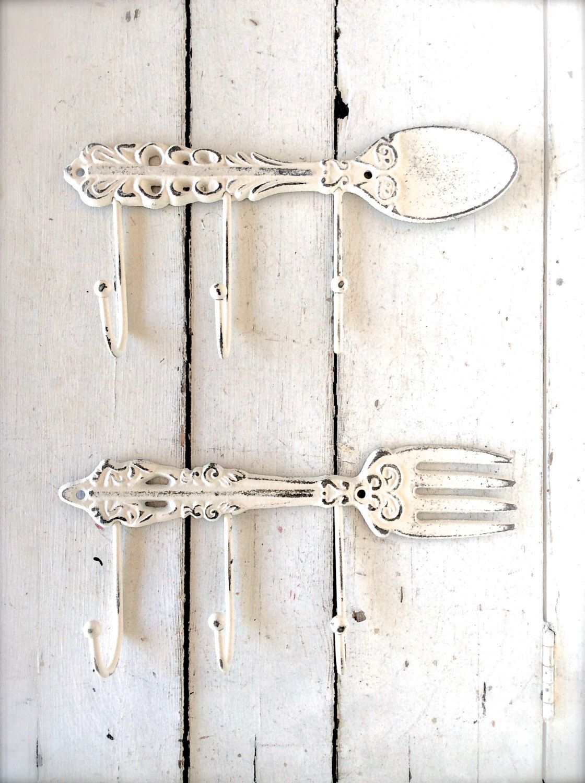 Kitchen Hooks, Kitchen Decor, Shabby Chic Kitchen Decor, Spoon Hooks, Spoon  And Fork, Kitchen Decorations, Kitchen Towel Hook, Towel Hooks By  Honeywoodhome ...