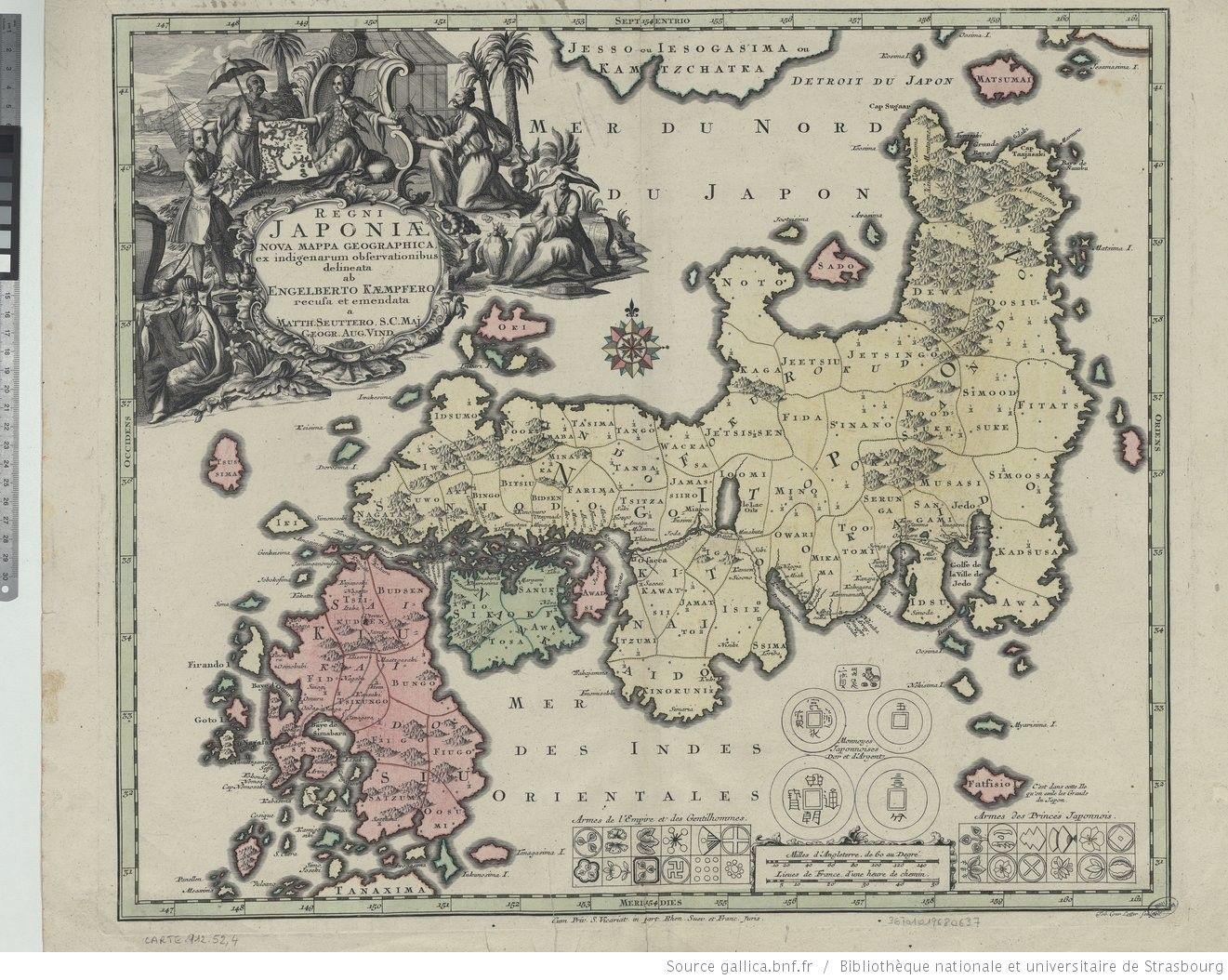 Regni Japoniae nova mappa geographica , ex indigenarum observationibus delineata ab Engelberto Kaempfero recusa et emendata a Matth.…