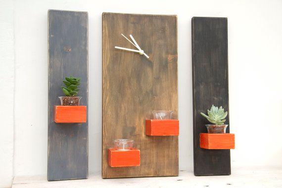 Modern Wooden Wall Clock, 3 Piece Set, Fully Handmade From