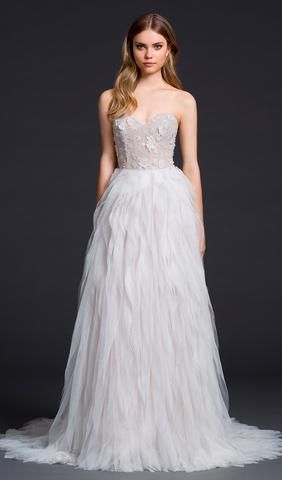 Try this beautiful Ivory textured net wedding dress. With strapless sweetheart neckline with keyhole back. From Lazaro. Available at Schaffer's in Des Moines, Iowa. Wedding Dress Info: Lazaro – STYLE 3654.