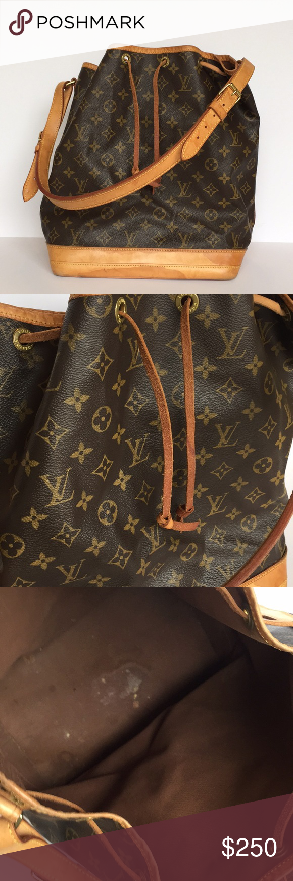 22b1726a360 Vintage Louis Vuitton NOE Bag Authentic Vintage Louis Vuitton bucket bag.  In poor condition. Large stains on leather. Drawstring has seen better days.