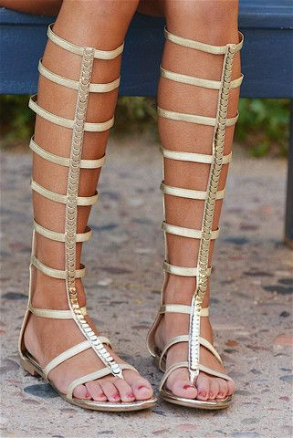 "****Use code ""REPLAUREN"" for 10% off + Free Shipping!!!!**** Too Fierce For Words Gladiator Sandals - Gold"
