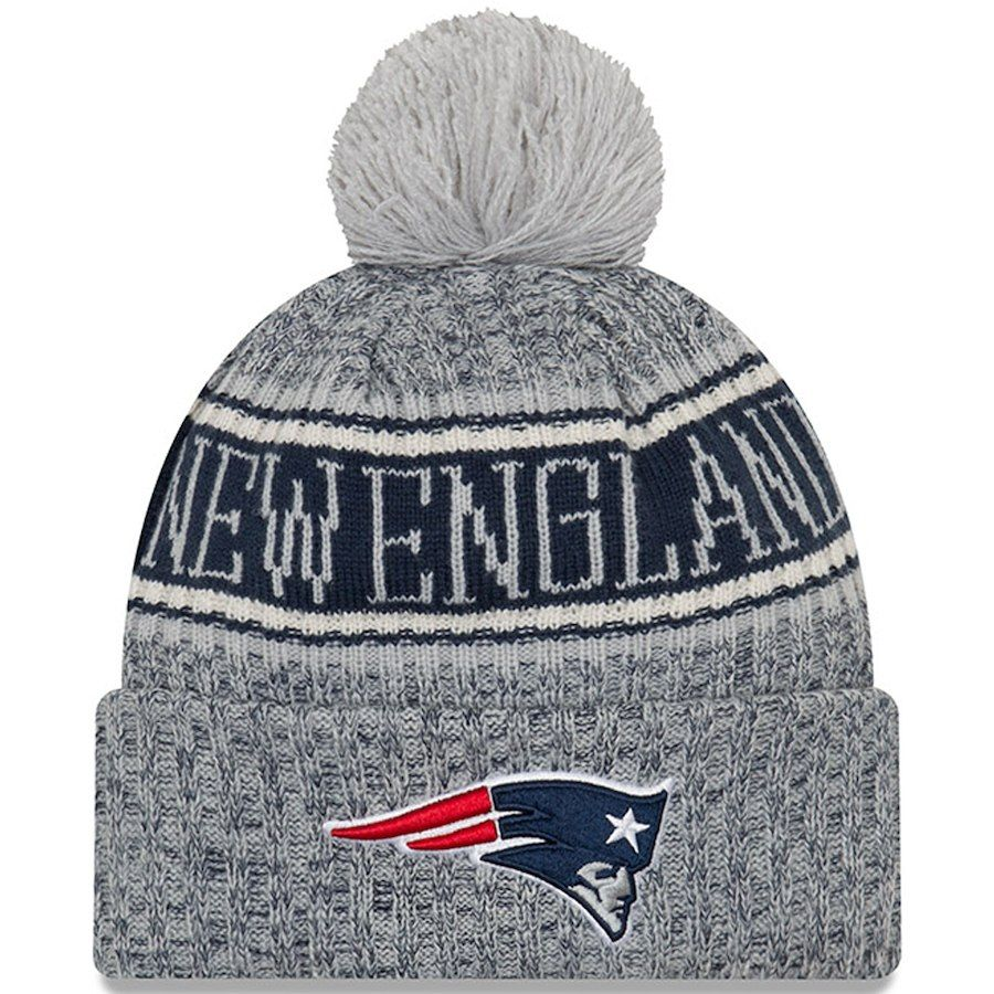 Men S New England Patriots New Era Gray 2018 Nfl Sideline Cold Weather Reverse Sport Knit Hat New England Patriots England Patriots New Era Hats
