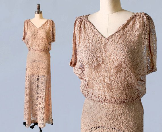 RESERVED 1930s Wedding Dress / 30s SPIDERWEBS! Lace Gown