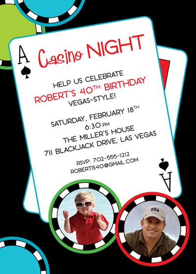 casino birthday invitations Invitation Add two photos to