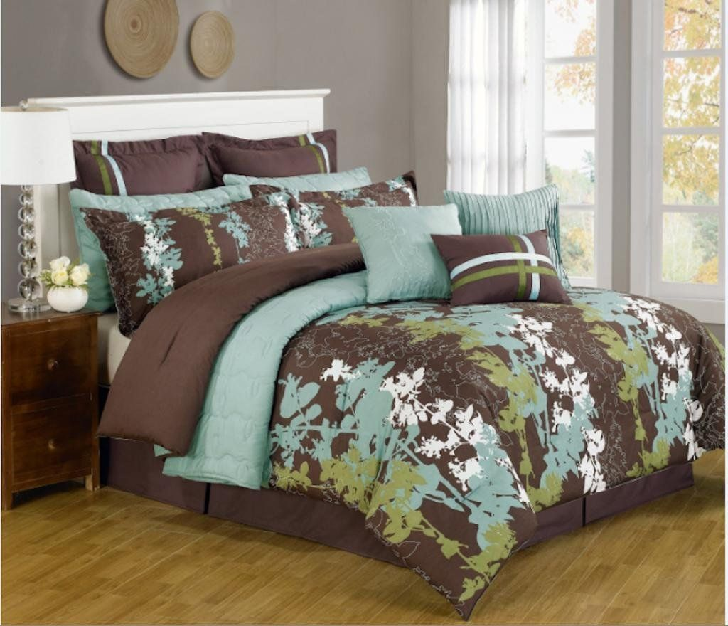 12 Pc Teal Green Brown And White Floral Print Comforter Set Comforter Sets Gray Bedroom Walls Dark Brown Bedrooms