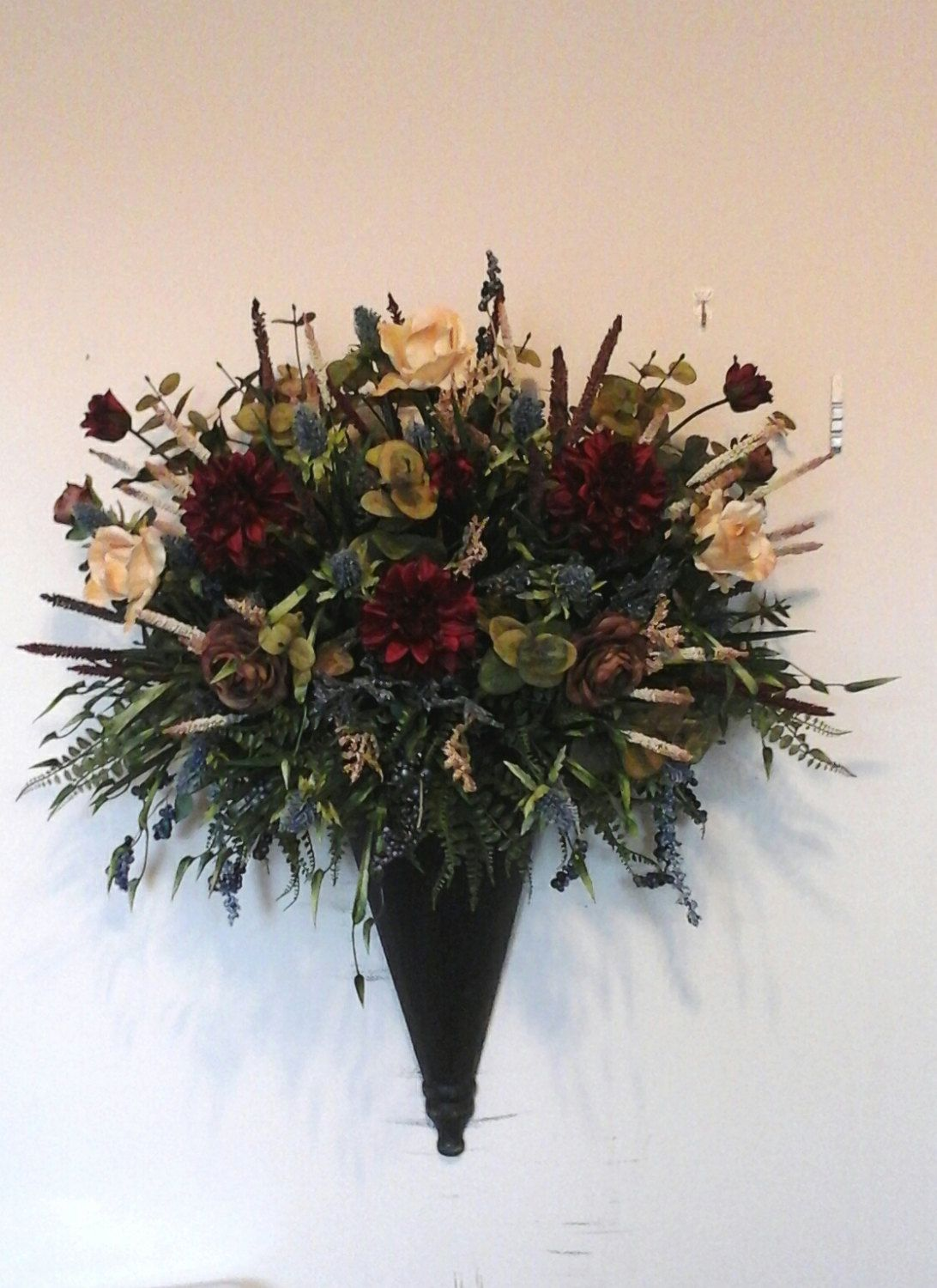 Floral wall sconce wall arrangement shipping included for Picture arrangements for large walls
