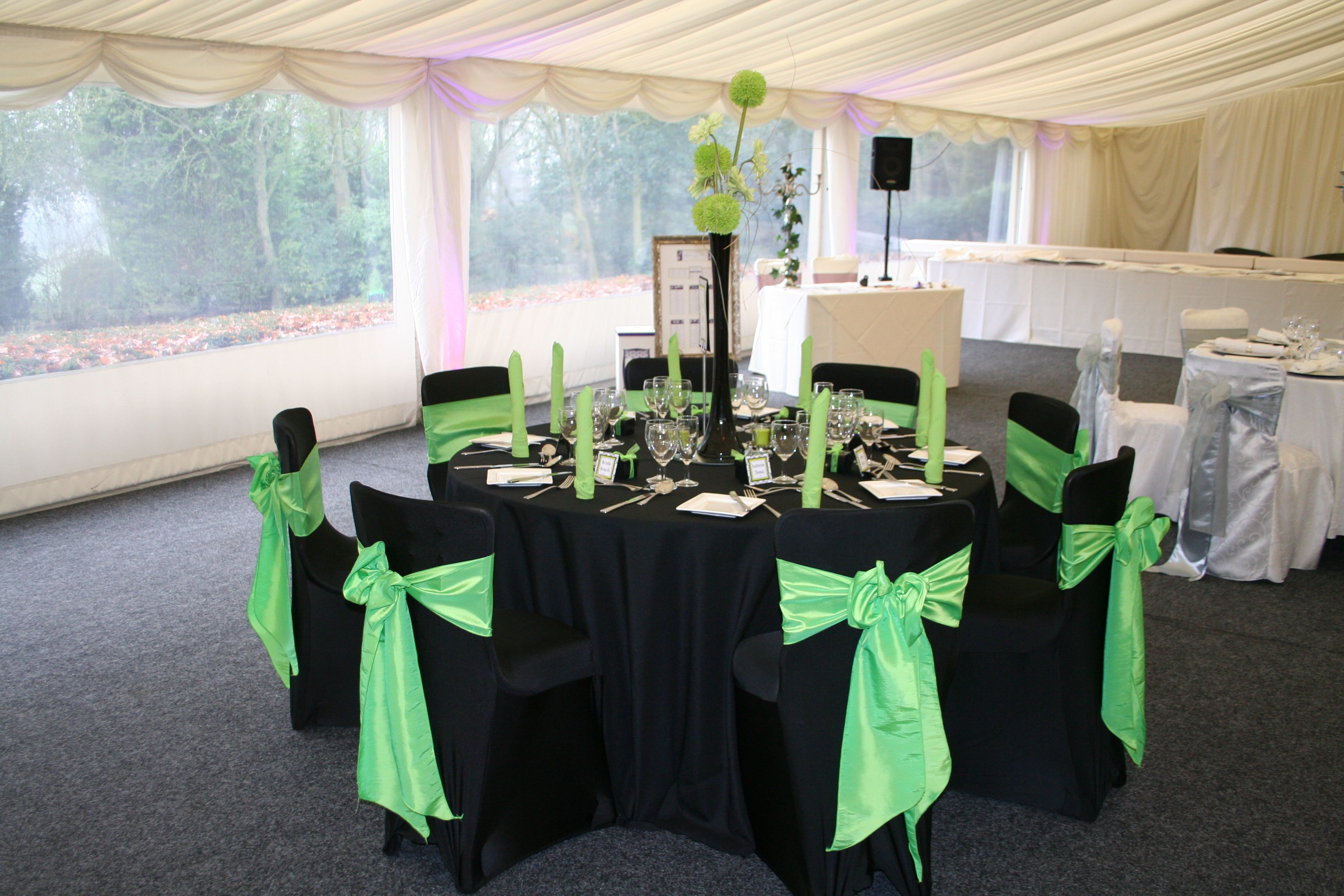 Black & Lime Green Black Table Linen & Chair Covers Lime Green