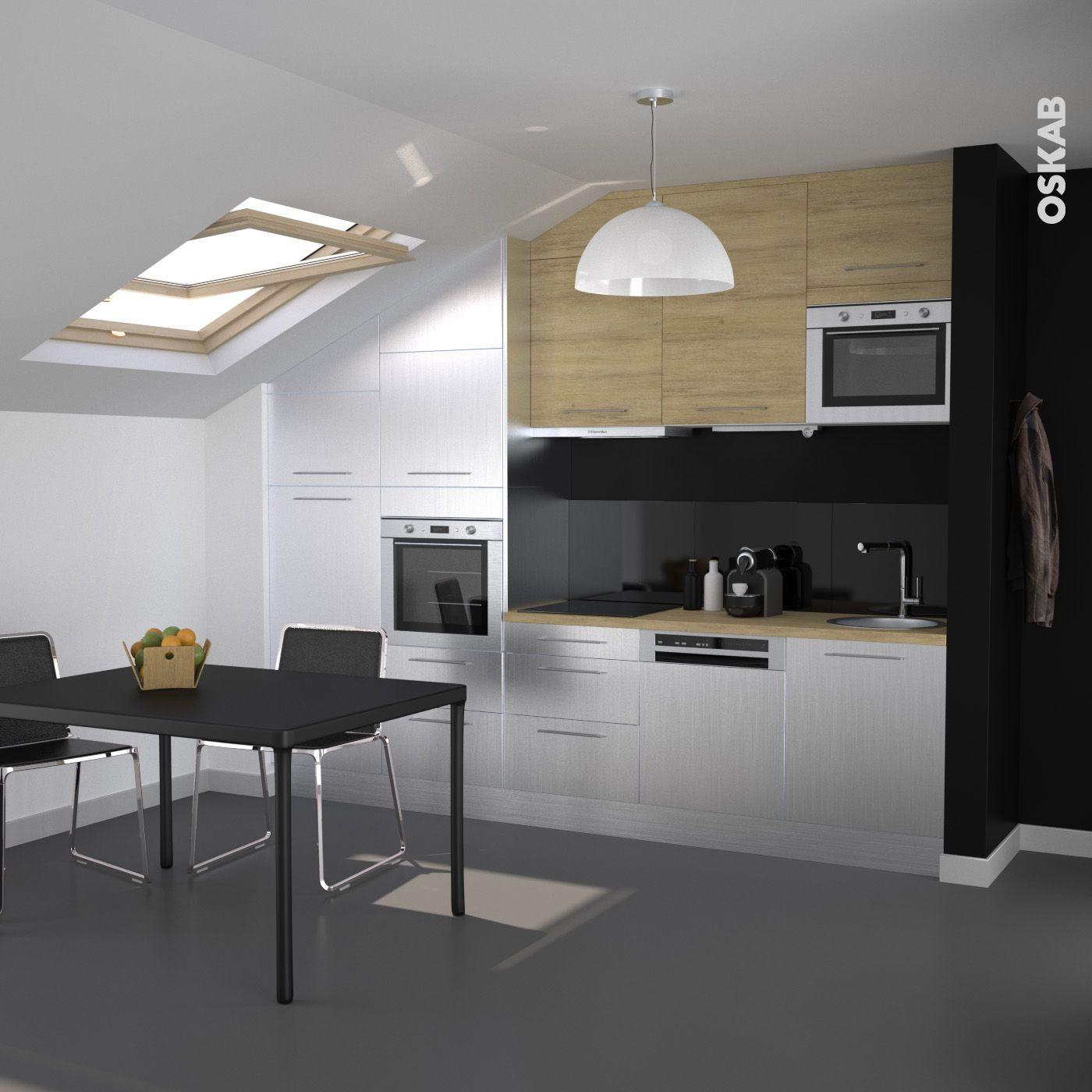 petite cuisine design inox et bois ch ne naturel implantation en i sous combles cr dence. Black Bedroom Furniture Sets. Home Design Ideas