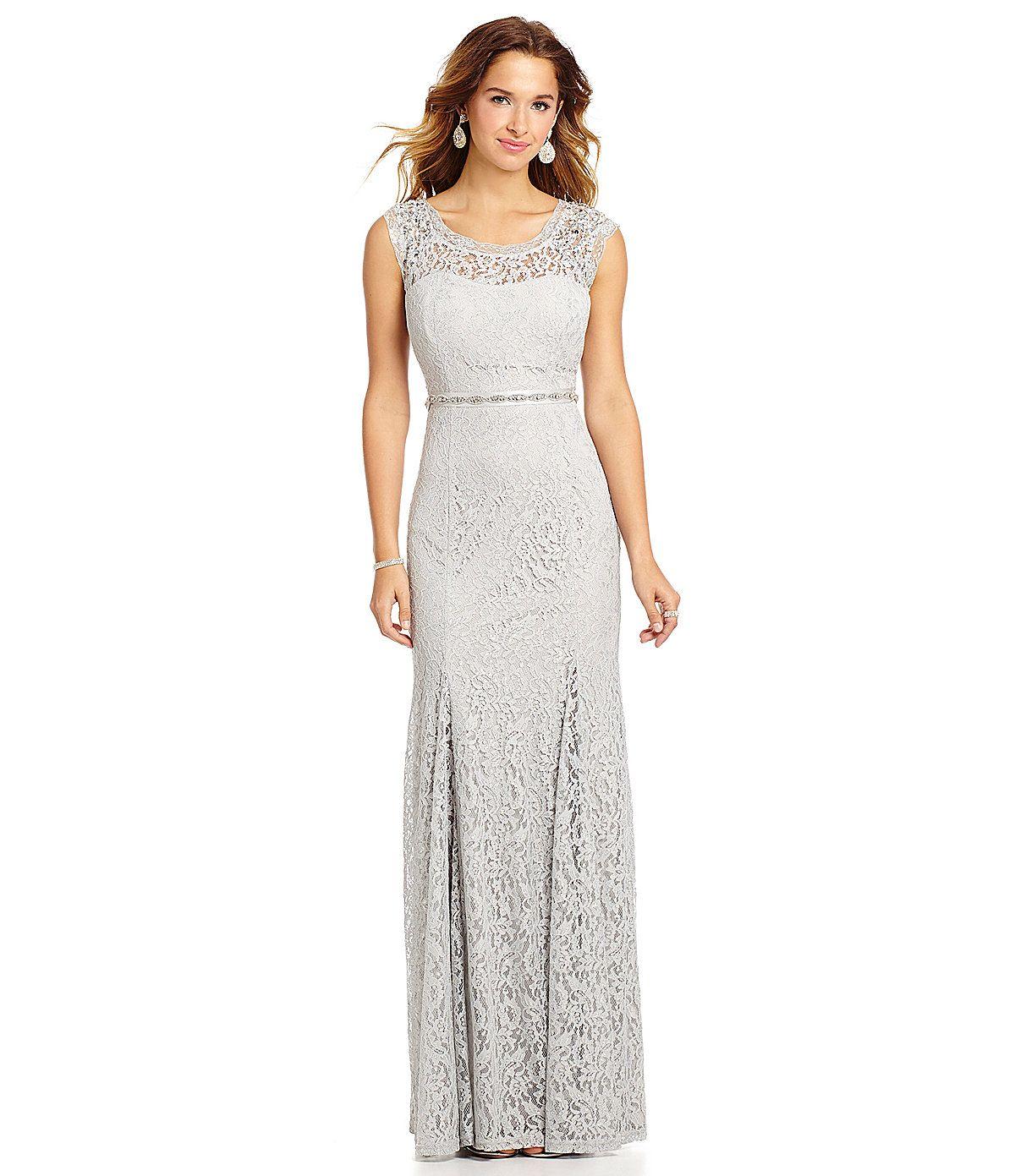Sequin Hearts Bead-Shoulder Foil-Lace Gown | Dillards.com ...