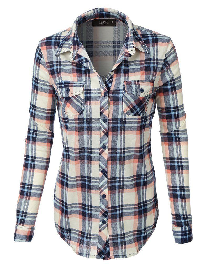 Flannel shirt women  Womens Lightweight Plaid Button Down Shirt with Roll Up Sleeves