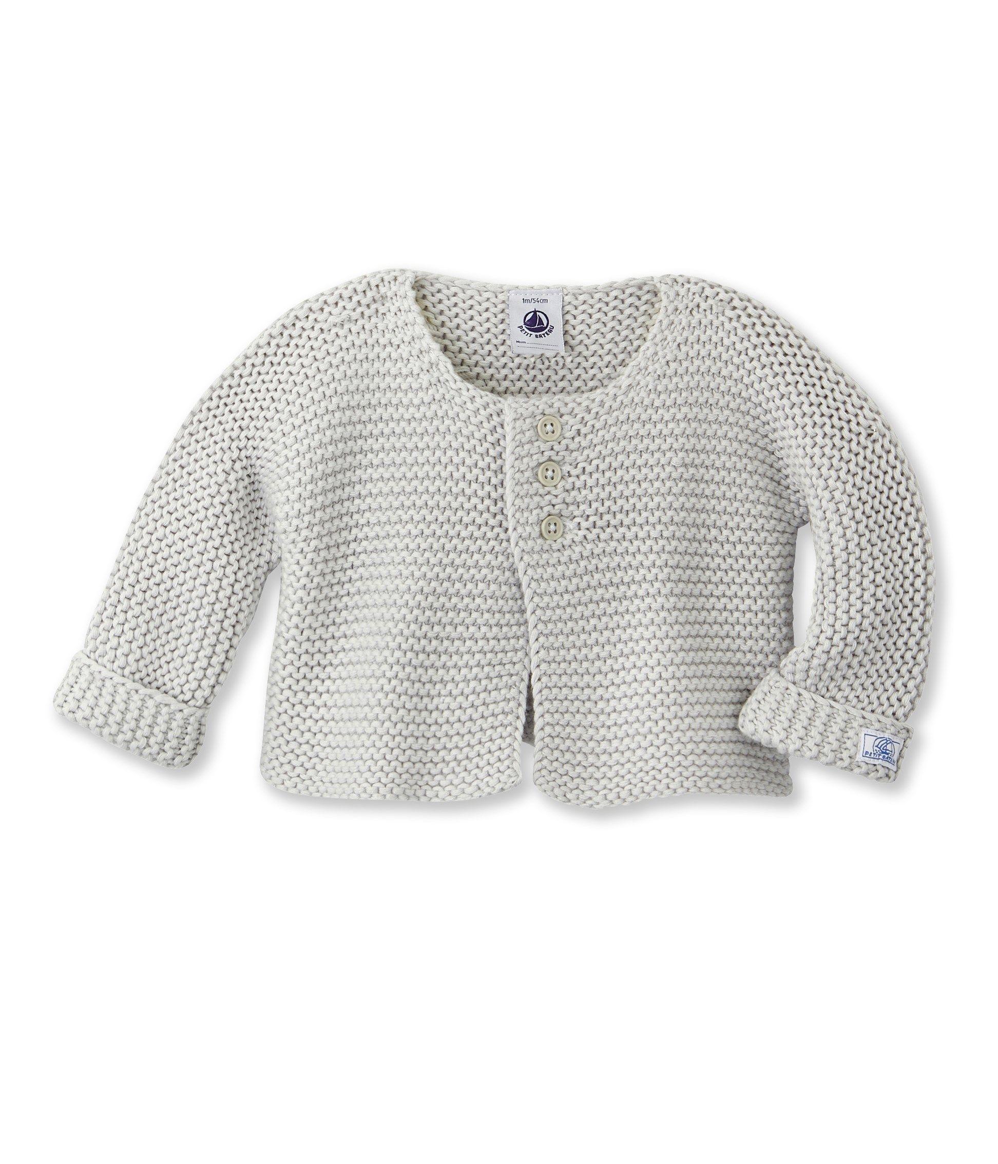 Cardigan bébé en tricot beige Perlin - Petit Bateau