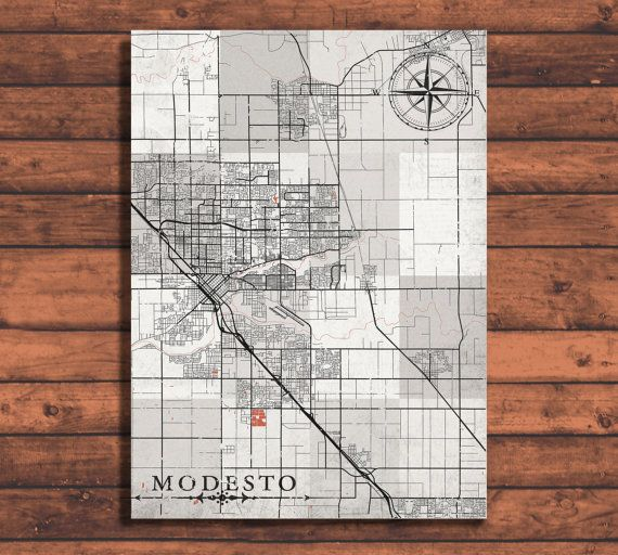 MODESTO California Vintage map Modesto City California Vintage map