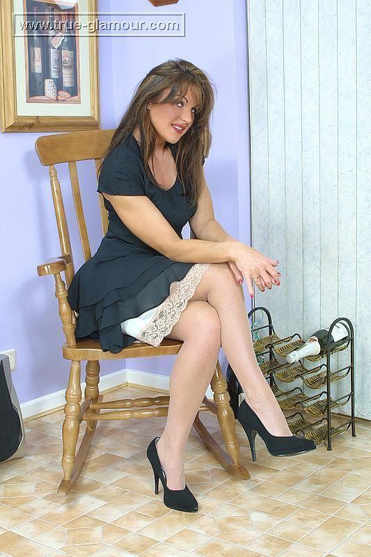 Lacy slip wearers upskirt