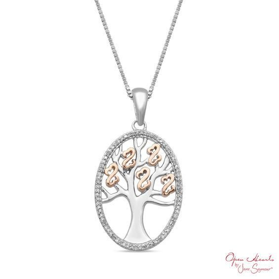 Zales Aquamarine and 1/10 CT. T.w. Diamond Frame Pendant in Sterling Silver and 10K Rose Gold WPX2dU