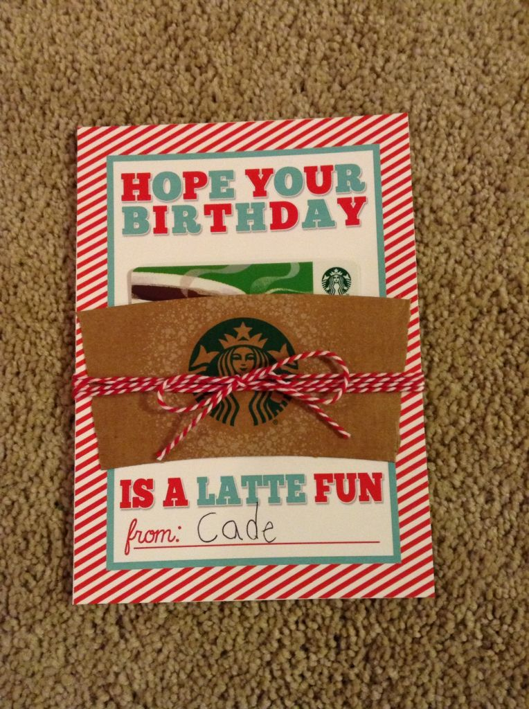 Teacher Birthday Gift Card To Starbucks For Her Favorite Drink Printable Available At Eighteen25 2015