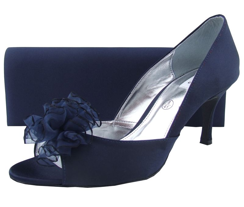 Elegant Navy Blue Satin Boarded Plain Clutch Bag Matching Shoes Also Available Fantastic Choice Of Eveninga Nd Bags