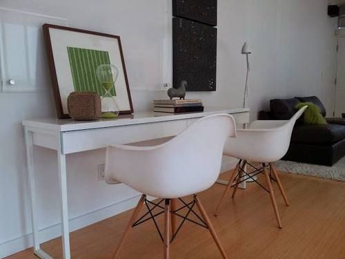 Eames Style Molded Plastic Chairs And IKEAs BESTA BURS Desk