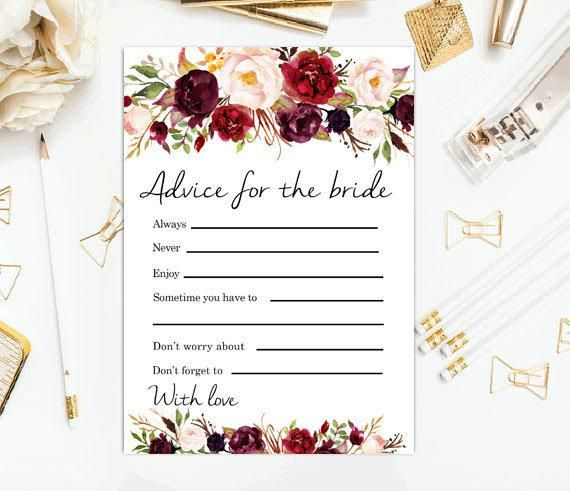 image relating to Printable Bridal Shower Card identified as Information for the bride Burgundy Bridal shower game titles Printable