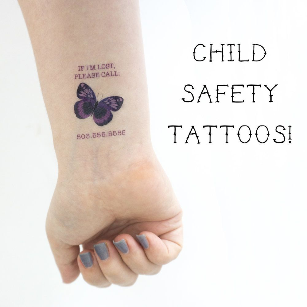 Butterfly emergency contact temporary tattoos kristen