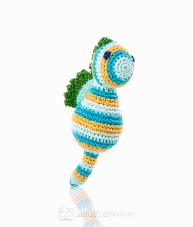 Pebble Seahorse Rattle - Pastel Blue