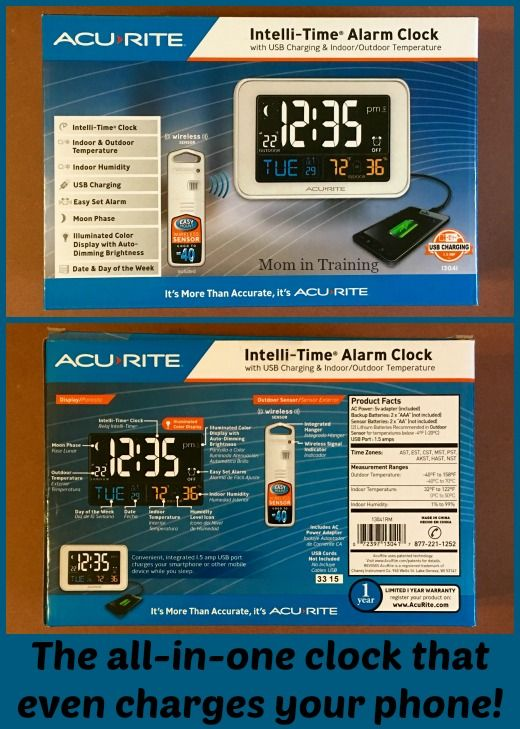 Mom in Training: The AcuRite Intelli-Time Alarm Clock - The all-in-one clock that even charges your phone!