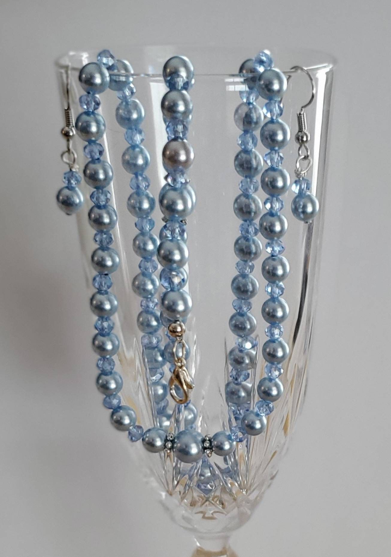 Light Blue Crystal and Pearl Jewelry Set in 2020 Pearl