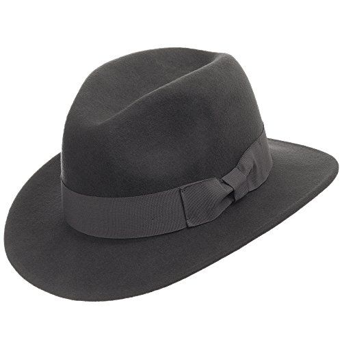 36d2033657e Drover Classic Crushable Wool Felt Outback Fedora Hat Water Repellent GREY  7 12    You can get more details by clicking on the image.