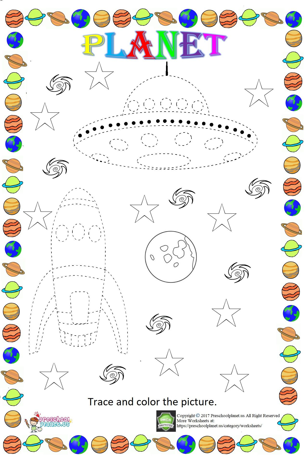 Space Themed Trace Worksheet