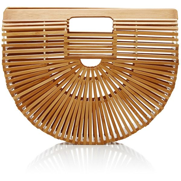 Cult Gaia Gaias Ark Handbag Small ($88) ❤ liked on Polyvore featuring bags, handbags, tan, bamboo handle bag, man bag, handle bag, tan bag and bamboo purse