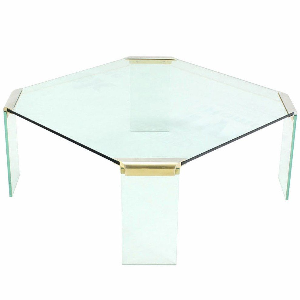 Large Square Glass Top Legs Brass Bracket Base Coffee Table Square Glass Coffee Table Large Square Coffee Table Glass Coffee Table [ 988 x 988 Pixel ]