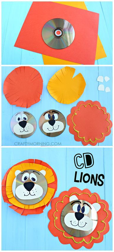 Recycled CD Lion Craft for the kids to make! #recycledcd