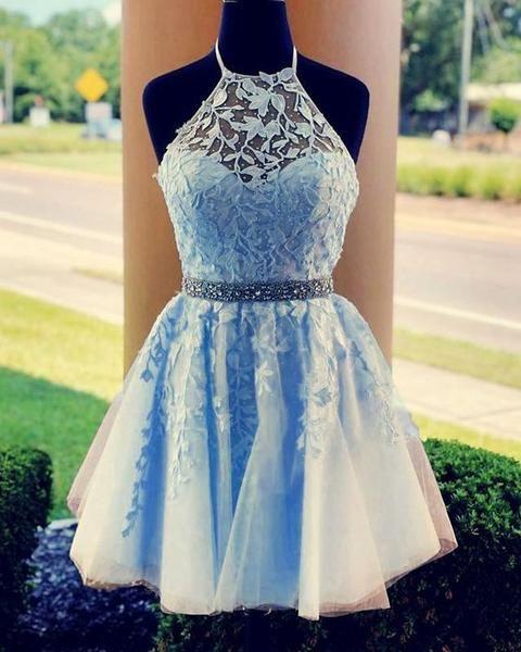 Neckholder Homecoming Kleid mit Applikation und Perlenstickerei, beliebtes kurzes Ballkleid, Fashion Dancel Kleid PDH0010