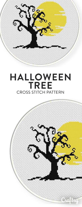 Halloween Tree Cross Stitch Pattern | Punto de cruz, Bordado y Puntos