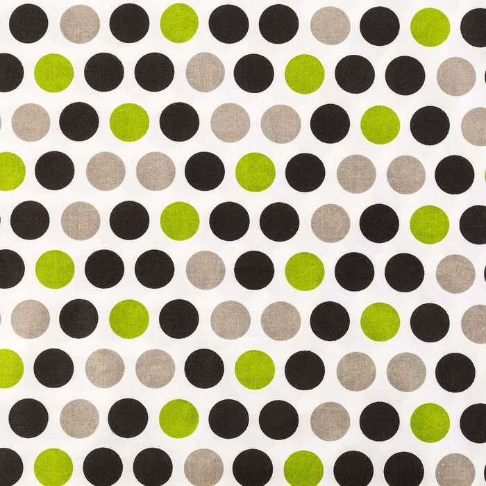 Lime Green Black & Grey Gigi Dots On White Cotton Fabric end of ...