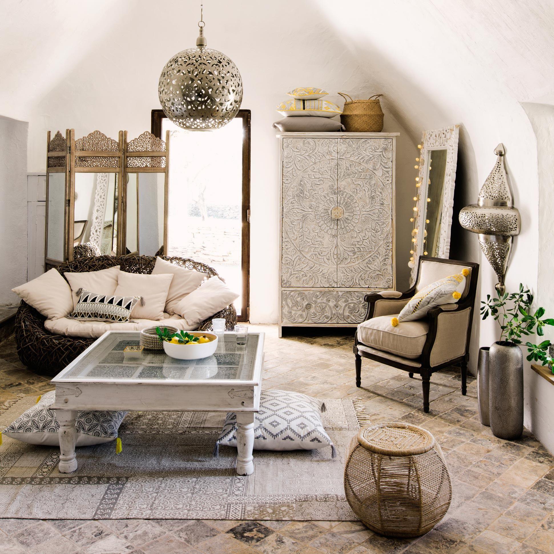 Armoire En Manguier Massif Blanche Et Argent E L 110 Cm Maison  # Armoire Scandinave Maison Du Monde