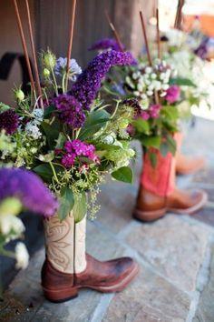 Cowboy Boot Vase Centerpiece Planning Habitatevents Wedding