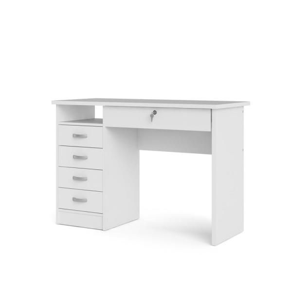 36 In Rectangular Oak 2 Drawer Writing Desk With Built In Storage White Desk With Drawers White Desk Bedroom Tvilum Desk with drawers and shelves