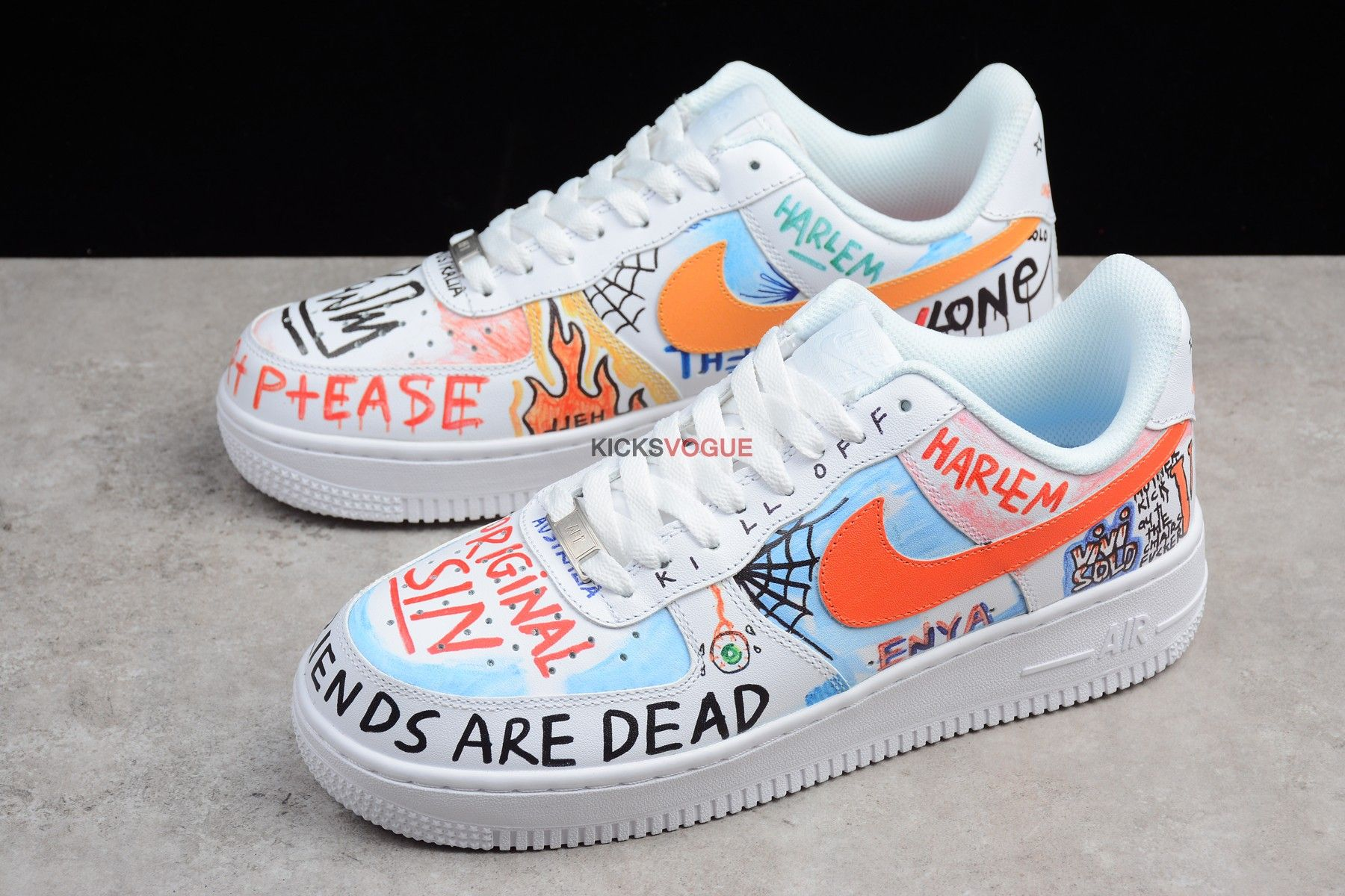 "wholesale dealer 65d8d f11f7 PAULY VLONE x Nike Air Force 1 LOW WHITE ""Mase"" Custom GRAFFITI HARLEM"